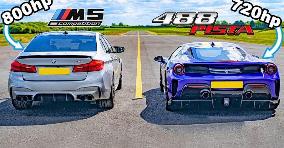 Дрэг-гонка: Ferrari 488 Pista против 800-сильной BMW M5